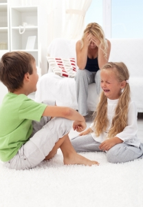 Kids fighting and crying